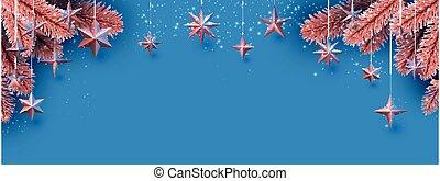 appendere, abete rosso, bronzo, lights., baluginante, rami, stelle