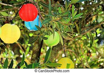 appendere, albero, rotondo, lanterne, colorato