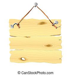 appendere, chiodo, legno, cartello
