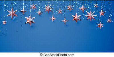 appendere, fondo., bronzo, stelle, blu