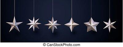 appendere, fondo., scuro, bronzo, isolato, stelle