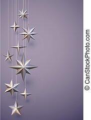 appendere, fondo., viola, bronzo, stelle