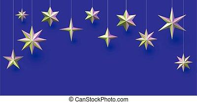 appendere, fondo., viola, verde, metallico, stelle