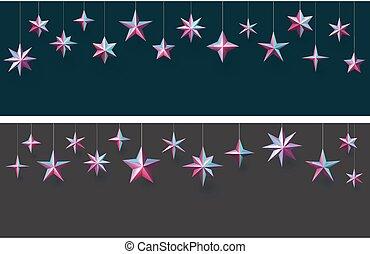 appendere, stars., sfondi, set, metallico