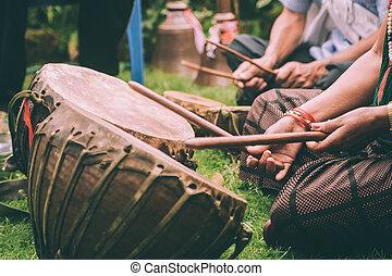 appiccicare, persone, gioco, cuoio, nepal, tamburi, colpo cropped