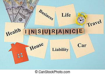 appiccicoso, giallo, note, concetto, assicurazione