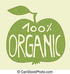 apple., verde, 100%, organico