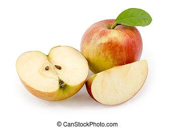 apples., bianco, taglio, mela, fondo