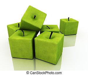 apples., quadrato, verde