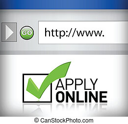 applicare, finestra, browser, linea