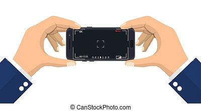 application., smartphone, macchina fotografica, moderno