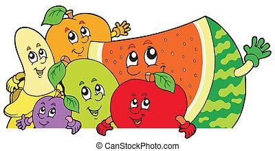 appostando, cartone animato, frutte