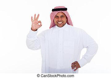approvazione, dare, musulmano, segno mano, uomo