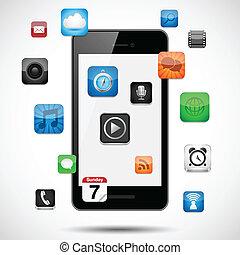 apps, smartphone, galleggiante