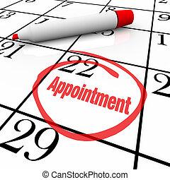 appuntamento, -, giorno, circondato, calendario, promemoria