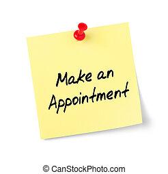 appuntamento, testo, fare, nota gialla, carta