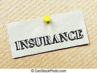 appuntato, concetto, riciclato, immagine, sughero, nota, message., carta, board., assicurazione