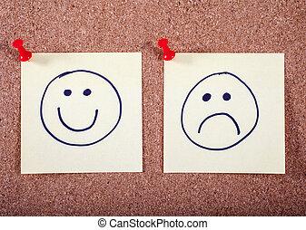 appuntato, felice, triste, facce, bacheca
