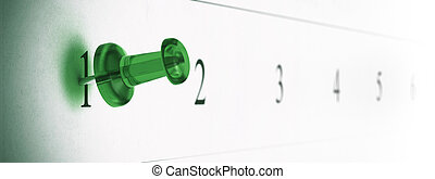 appuntito, destra, stanza, puntina da disegno, testo, schedule., numero, verde, calendario, su di, lato, thumbtack, 1.