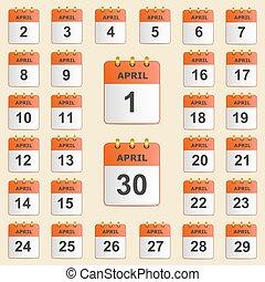aprile, calendario, set, icone