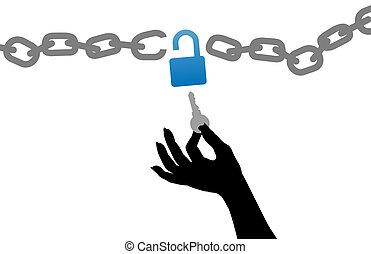 aprire, chiave, libero, serratura, catena, persona, mano