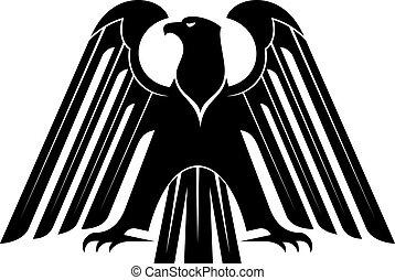 aquila, orgoglioso, silhouette, nero