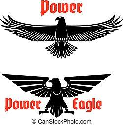 aquila, set, potere, araldico, uccello, simboli, o, icona
