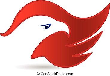 aquila, simbolo, faccia, americano, vettore, logotipo