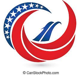 aquila, stati uniti, simbolo, bandiera, vettore, logotipo