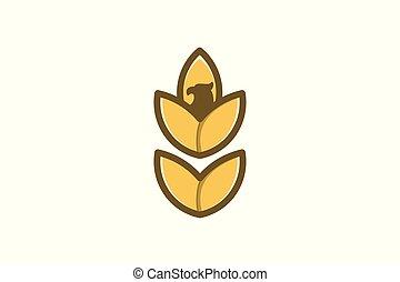 aquila, testa, frumento, disegno, grano, logotipo, agricoltura, ispirazione