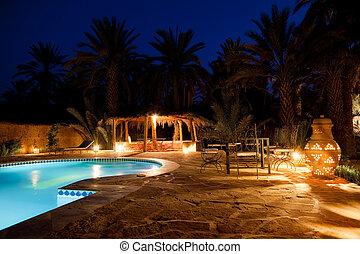 arabo, albergo, sera, stagno