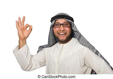 arabo, bianco, concetto, isolato, uomo