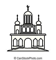 arabo, castello, torre, luna