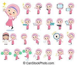arabo, hijab, stile, ragazza