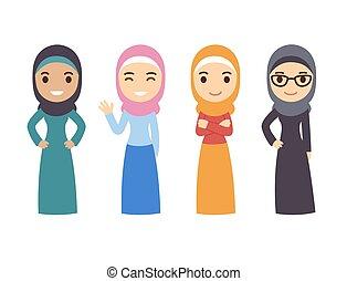 arabo, musulmano, donne, set