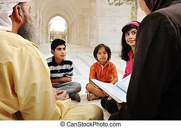 arabo, musulmano, gruppo, alunni, educazione