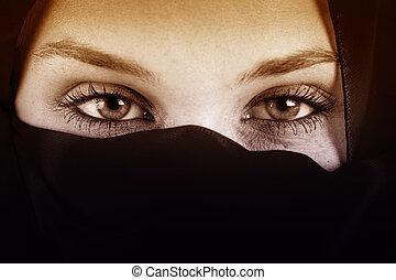 arabo, occhi, donna, velo
