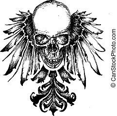 araldica, cranio, illustrazione