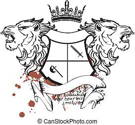 araldico, cresta, testa, leone, tattoo7