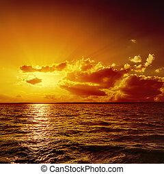 arancia, acqua, sopra, tramonto