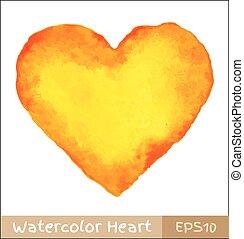 arancia, acquarello, -, giallo, cuore
