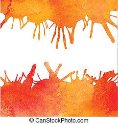 arancia, acquarello, vettore, indietro, vernice