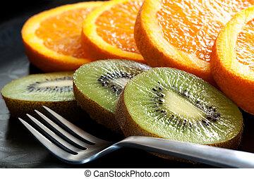 arancia, affettato, frutta, kiwi