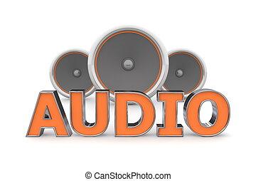 arancia, altoparlanti, audio, -