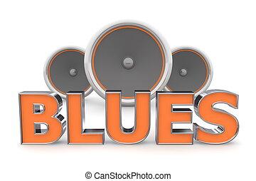 arancia, altoparlanti, -, blues