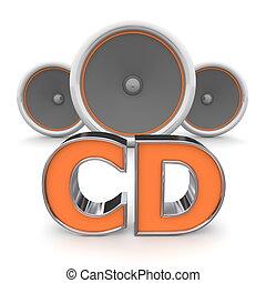 arancia, altoparlanti, -, cd