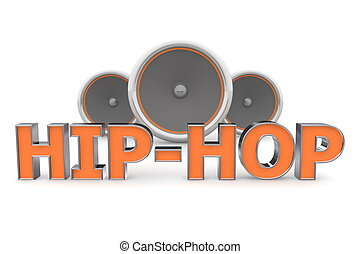 arancia, altoparlanti, -, hip-hop