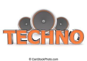 arancia, altoparlanti, techno, -