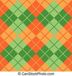 arancia, argyle, verde