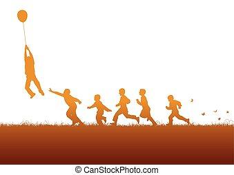arancia, balloon, sopra, bambini